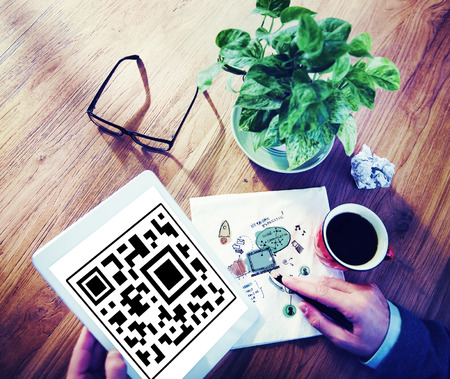 QR code on a tablet device