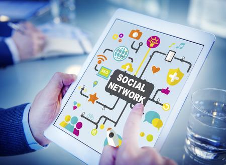social media: Social Media Social Networking Connection Global Concept Stock Photo