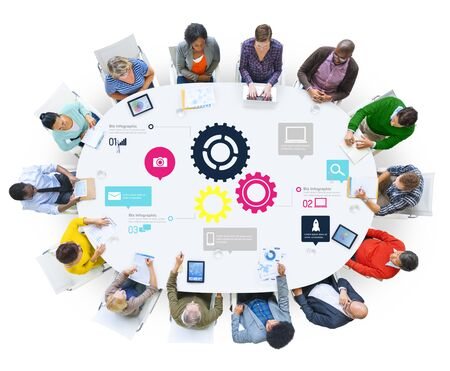 functionality: Team Teamwork Cog Functionality Technology Business Concept Stock Photo