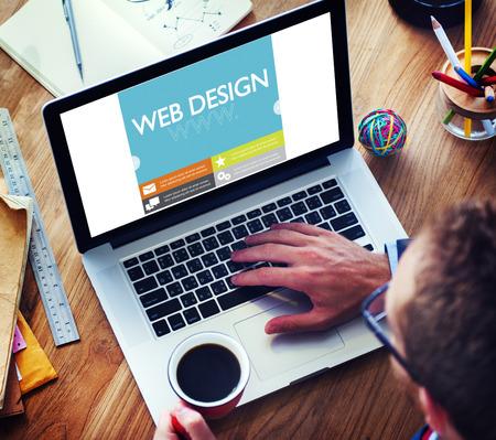 usando computadora: Www Web Diseño Web Página Web Concept