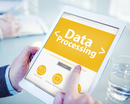 Digital Online Data Processing Technology Office Browsing Concept