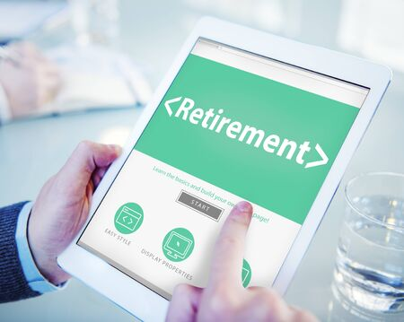 retiring: Digital Online Retirement Pension Office Working Concept