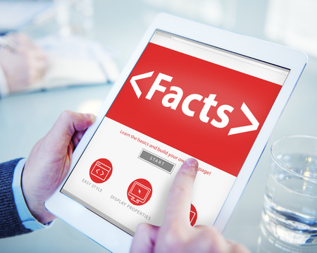 analysing: Facts Information Data Analysing Reality Concepts Stock Photo