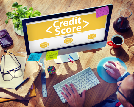 online learning: Digital Online Credit Score Finance Rating Record Concept