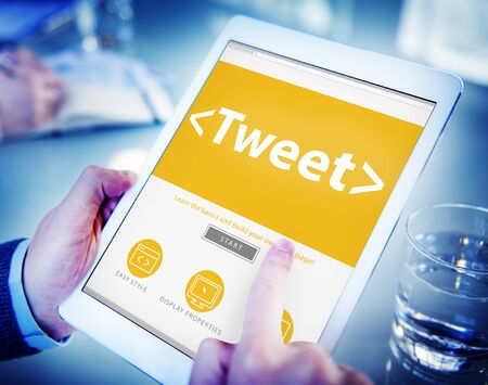 Digital Online Social Media Networking Tweet Sharing Concept Stock Photo