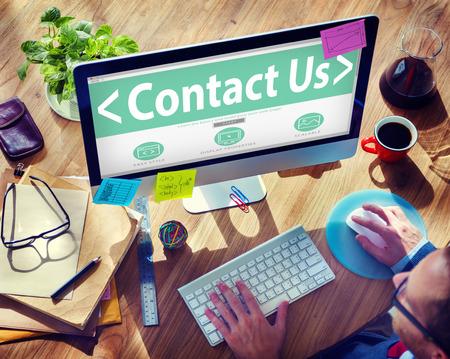 Digitale Online Business Service Contact met ons Concept
