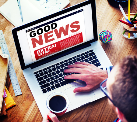 Digital Online Update Good News Concept Stock Photo