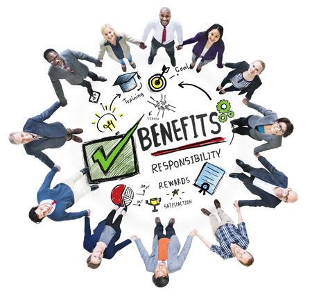 business support: Voordelen Gain winst verdienen Inkomen Business Support Concept Stockfoto
