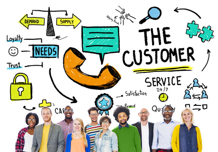 excellent service: The Customer Service Target Market Support Assistance Concept