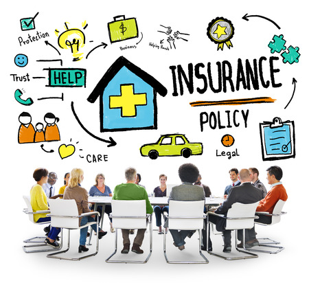 insurance policy: Diversity Casual People Insurance Policy Brainstorming Concept