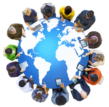 Multi-ethnic group showing global connection Stockfoto