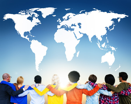 Multi-ethnic group showing global connection 스톡 콘텐츠