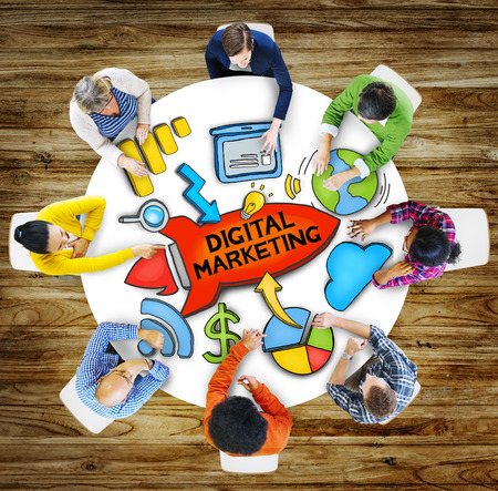 digital marketing: People Teamwork Digital Marketing Advertisement Technology Internet Concept Stock Photo