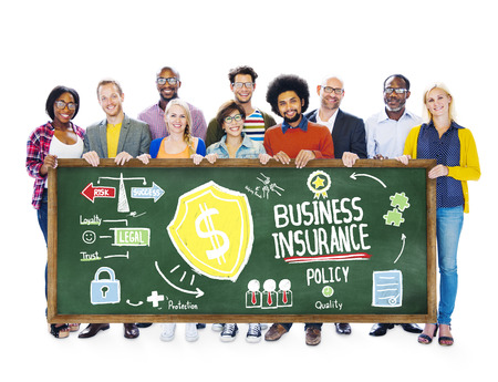 Multiethnic People Banner Safety Risk Business Insurance Concept photo