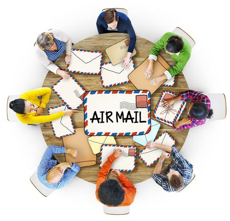 multiethnic: Multiethnic Group of People with Air Mail Concept