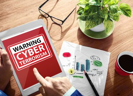 cyber terrorism: Warning Cyber Terrorism Digital Device Wireless Browsing Concept Archivio Fotografico