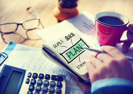 Businessman Notepad Plan Goals Ideas Concept photo