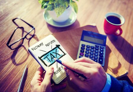 Businessman Tax Economy Refund Money Concept photo