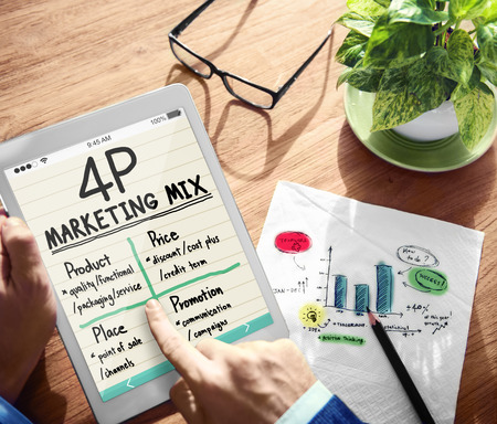 4p: Digital Onine 4P Marketing Mix Office Working Concept