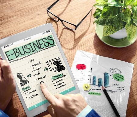 ebusiness: E-business on a tablet device concept