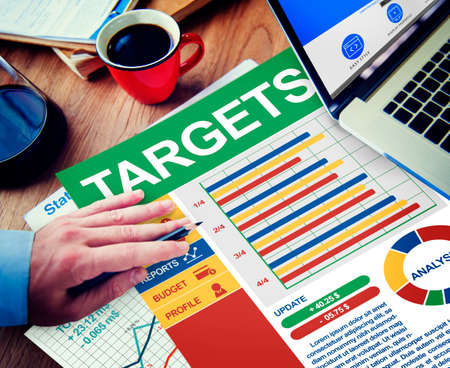 target thinking: Target Businessman Working Calculating Thinking Planning Paperwork Concept