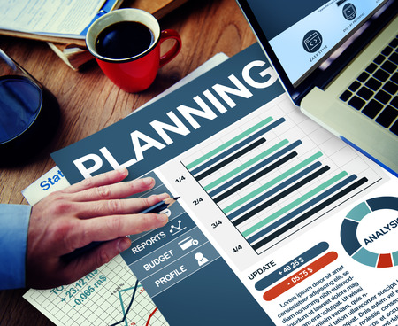 strategic plan: Planning Businessman Working Calculating Thinking Planning Paperwork Concept