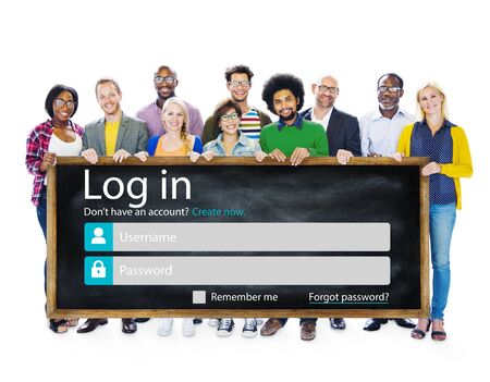 security protection: Casual People Account LogIn Security Protection Concept