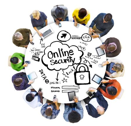 People Social Networking and Online Security Concepts photo