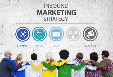 apoyo social: Inbound Marketing Estrategia de Publicidad Comercial Branding Concept Foto de archivo