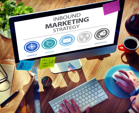 advertisement: Inbound Marketing Strategy Advertisement Commercial Branding Concept Stock Photo