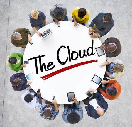 mixed age: Aerial View of People and Cloud Computing Concepts