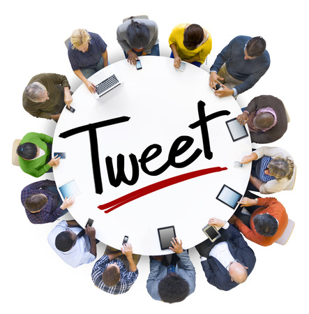 tweeting: Aerial View of People and Tweeting Concepts