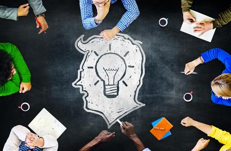 progressive: Blackboard Brainstorming Cooperation Planning Meeting Strategy Sharing Concept