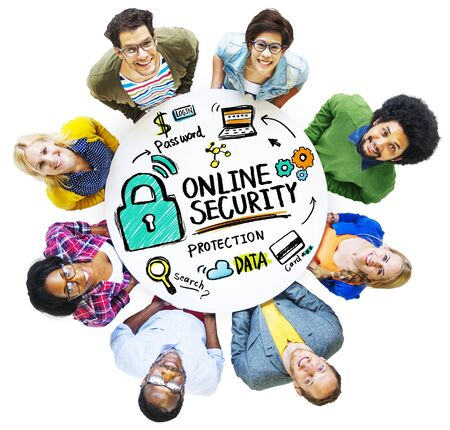 online security: Online Security Protection Internet Safety People Diversity Concept