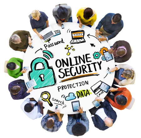 security technology: Online Security Protection Internet Safety People Technology Concept Stock Photo