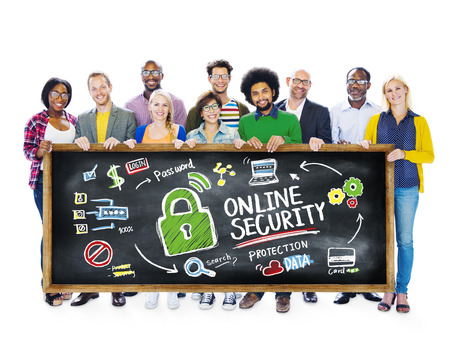 online security: Online Security Protection Internet Safety Student Education Concept Stock Photo