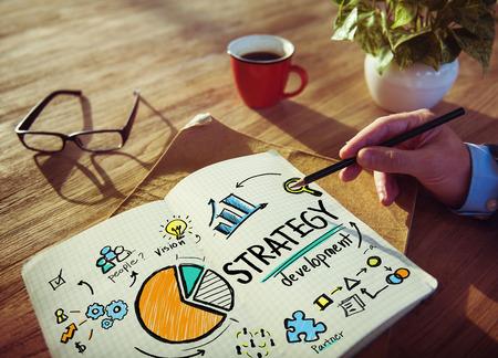 estrategia: Objetivo de Desarrollo de Estrategia de Marketing Visión Planificación Mano Concepto
