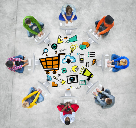 Diversity People Online Marketing Computer Connection Meeting Concept Stock Photo