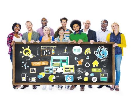 Diversity Casual People Responsive Design Media Teamwork Concept photo