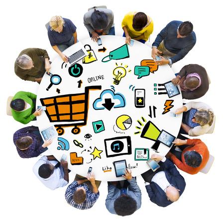 Diversity People Online Marketing Digital Communication Meeting Concept Stock Photo