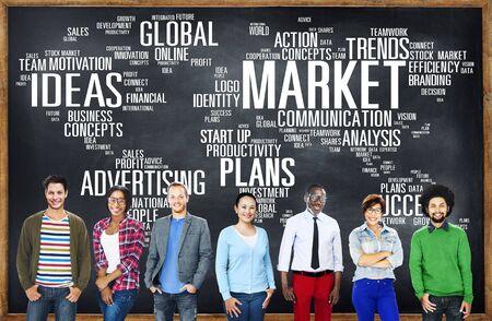 市場ビジネスのグローバル ビジネス マーケティング商業コンセプト