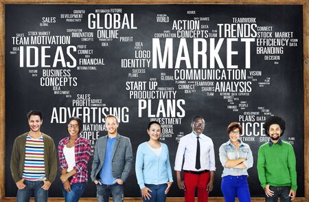sales lady: Market Business Global Business Marketing Commerce Concept Stock Photo
