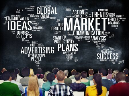 creative target: Market Business Global Business Marketing Commerce Concept Stock Photo