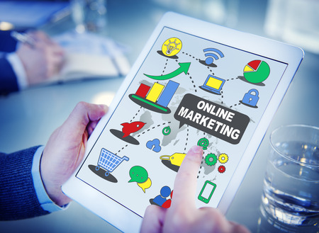Online marketing concept on a tablet device photo