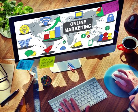 Desktop online marketing concept Stock Photo