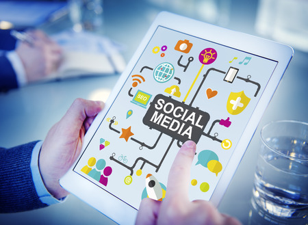 place to learn: Social Media Social Networking Connection Global Concept Stock Photo