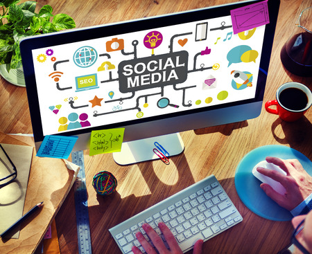 business network: Social Media Social Networking Connection Global Concept Stock Photo