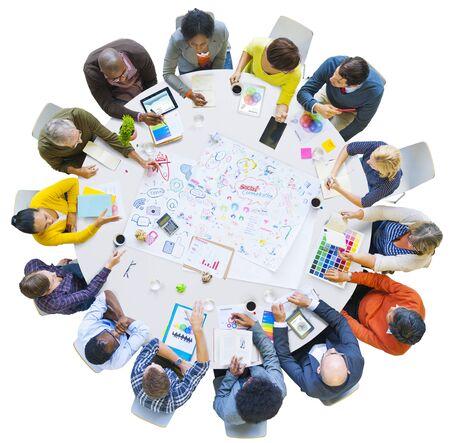 social communication: Diversity Business People Social Communication Meeting Brainstorming Concept