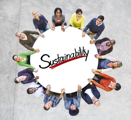 sostenibilidad: Conceptos de la visión aérea Gente Comunidad Sostenibilidad Verde Negocio