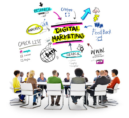 digital marketing: Digital Marketing Branding Strategy Online Media Concept Stock Photo